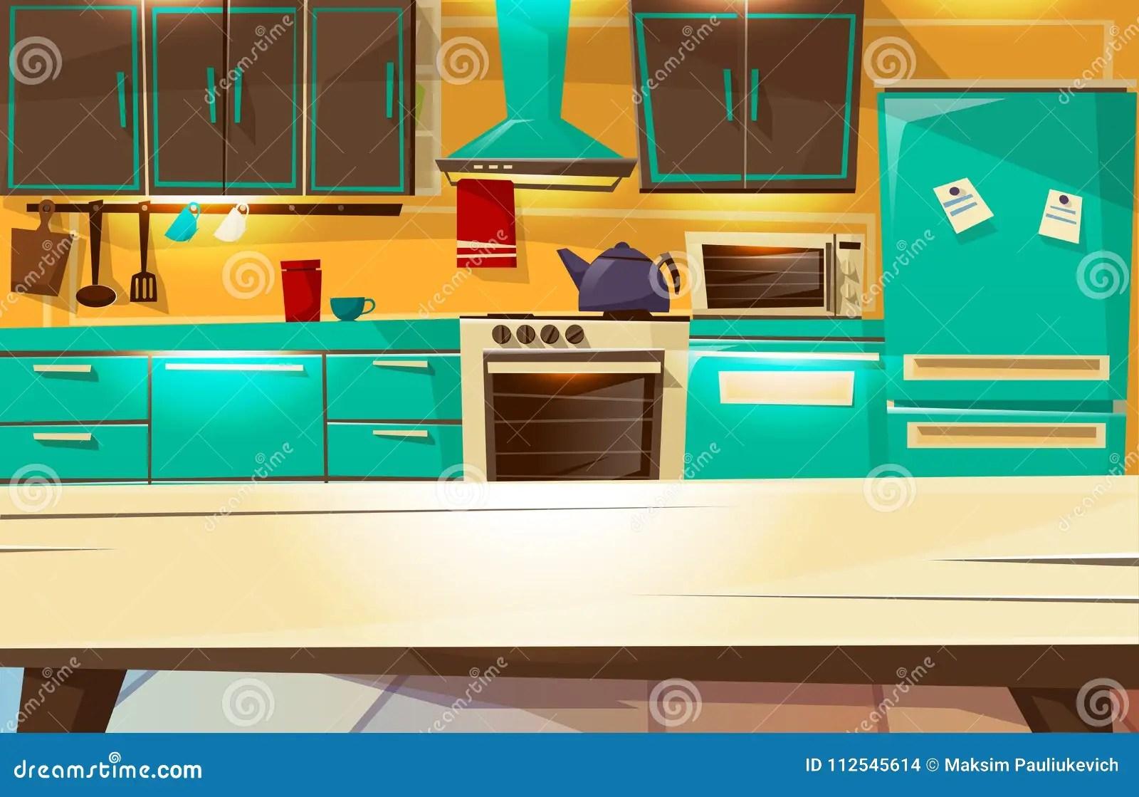 kitchen builder app the honest com 现代或减速火箭的厨房家具和装置的厨房内部背景传染媒介动画片例证向量 从餐桌视图的厨房内部背景传染媒介例证动画片平的设计或现代或减速火箭的厨房家具和装置冰箱或者碗柜架子和厨灶