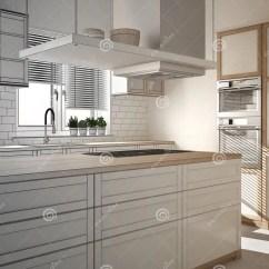 Industrial Kitchen Stools Sink Plumbing 现代木和白色厨房未完成的项目有海岛 凳子和窗口的 木条地板库存照片