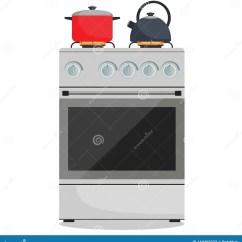 Kitchen Stove Gas Walmart Cabinets 现代煤气炉 罐和水壶对此在火焰家庭厨灶准备食物 烹调在平的样式的传染