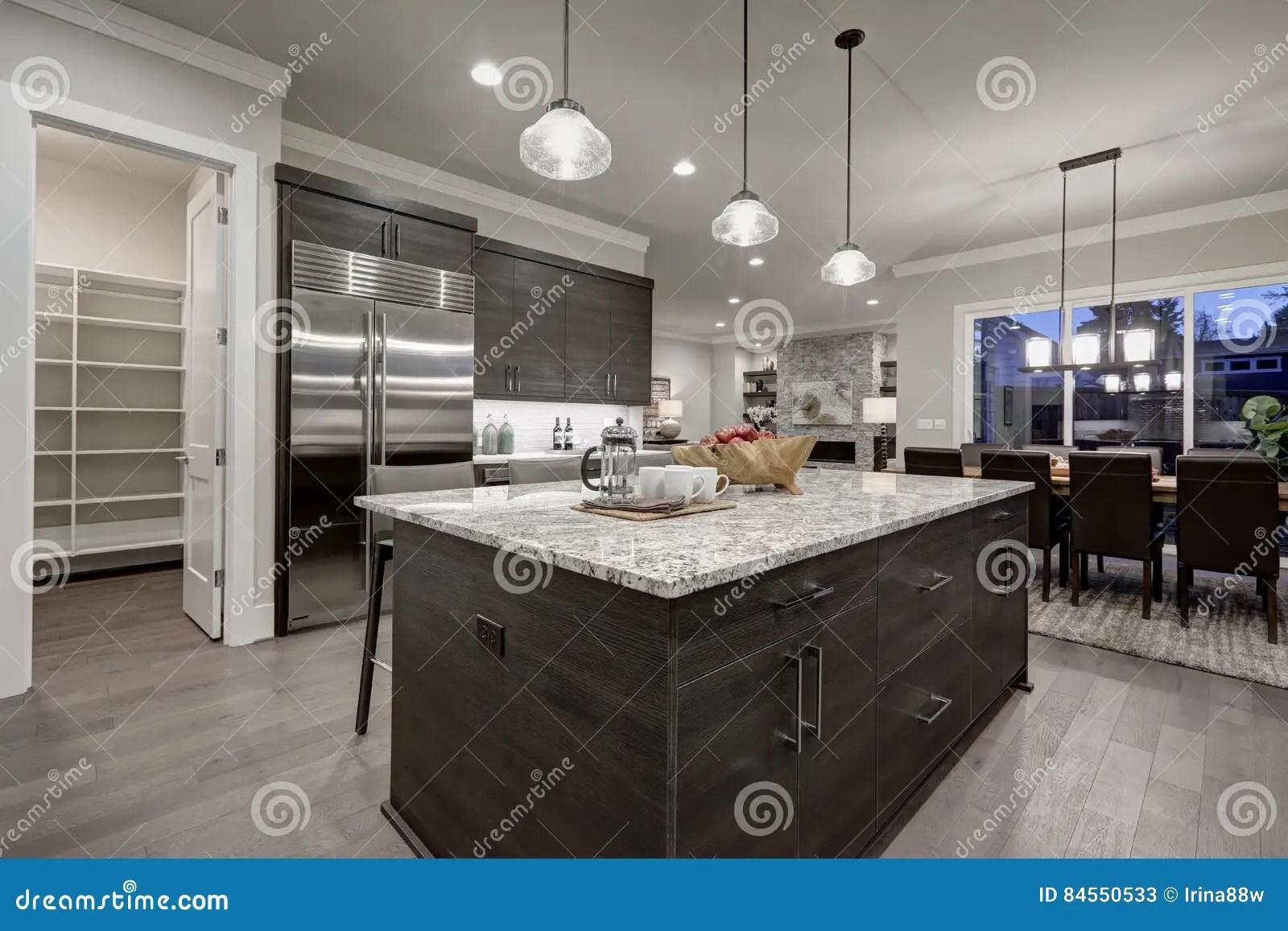 grey kitchen countertops glass front cabinets 现代灰色厨房以深灰细木家具为特色库存图片 图片包括有机柜 设计 不锈 现代开放学制灰色厨房以与花岗岩工作台面配对的深灰内阁为特色门户开放主义对餐具室西北 美国