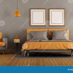 Orange Kitchen Rug Big Tiles 现代灰色和橙色卧室库存例证 插画包括有空间 室内 地毯 木条地板 有双人床和扶手椅子的 3d现代灰色和橙色卧室翻译