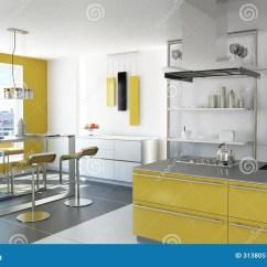 Kitchen Decor Yellow And Dining Sets 现代黄色厨房 库存图片 图片包括有烤箱 庄园 灌肠器 自定义 装饰 有小岛 桌和凳子的现代黄色厨房