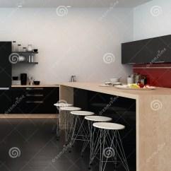 Kitchen Counter Stools Eat In Tables 现代酒吧柜台在开放学制厨房里库存例证 插画包括有家具 计数器 角落 现代酒吧柜台在有一个木海岛柜台的开放学制厨房里和简单的当代凳子在一间宽敞黑白屋子3d翻译