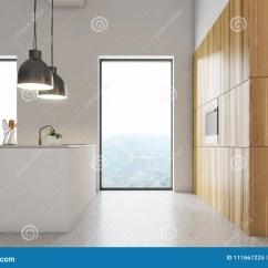 Cement Kitchen Sink Taps 白色厨房内部 白色和木柜台库存例证 插画包括有室内 没人 用餐 内部 与一个水泥地板的白色墙壁顶楼厨房内部和在原始的灯下的轻的木工作台面与水槽的一张白色桌3d翻译嘲笑