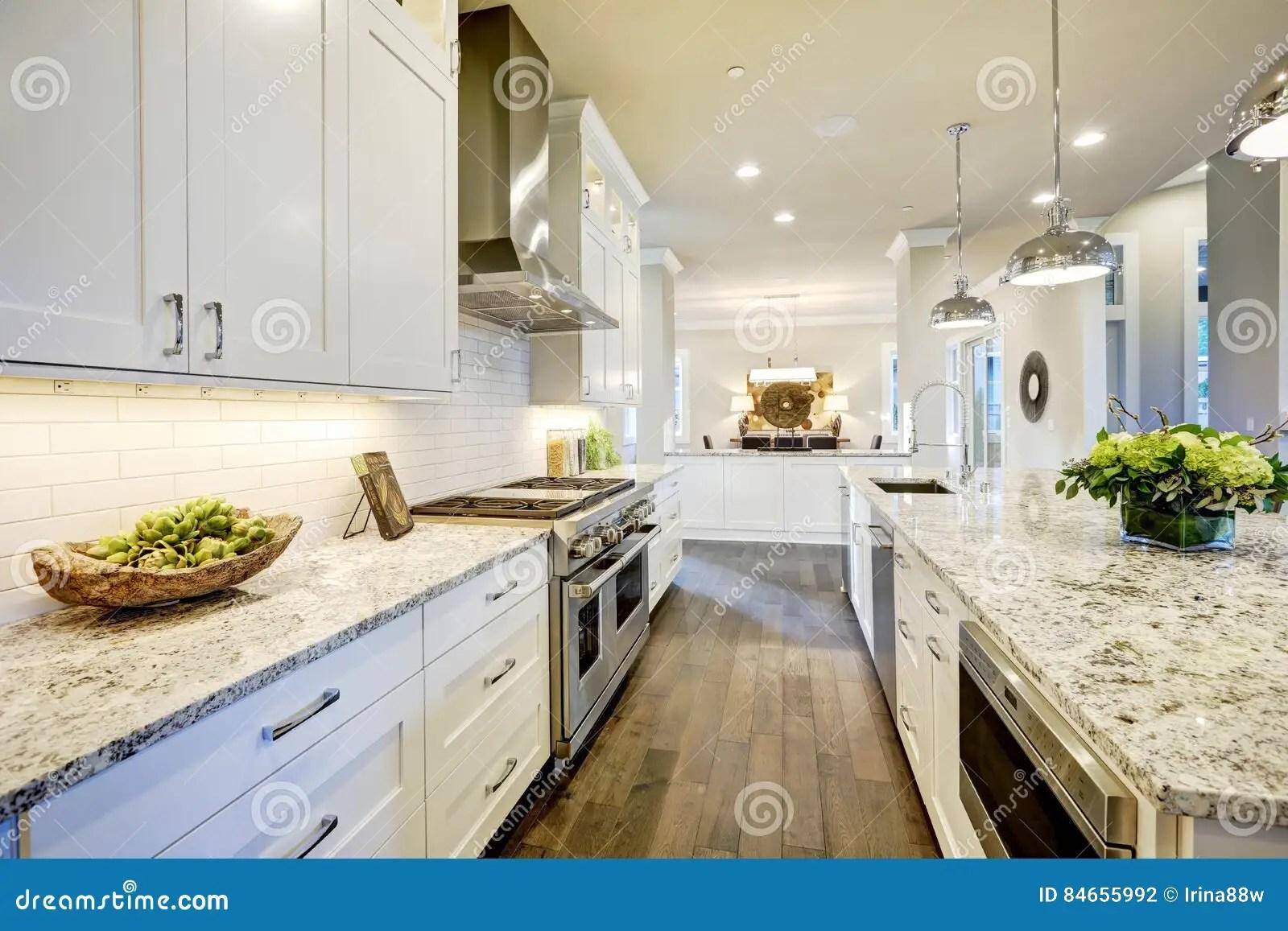 kitchen design jobs small round table sets 白色厨房设计在新的豪华家库存照片 图片包括有计划 装备 水槽 干净 有现代下垂光照亮的花岗岩工作台面的白色厨房设计特点大酒吧样式厨房西北 美国