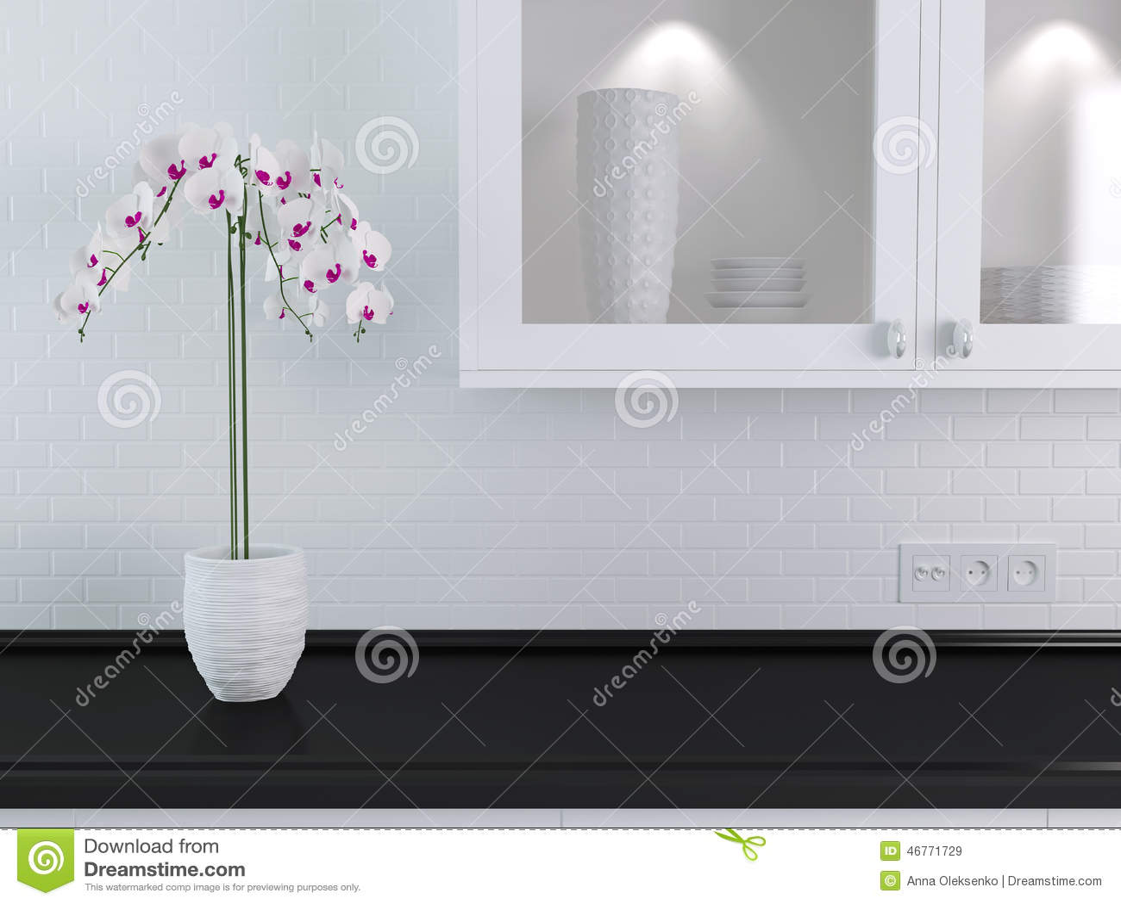 white kitchen buffet porcelain floor 白色厨房设计库存图片 图片包括有架子 装饰 室内 餐馆 兰花 抛光 白色厨房设计 在黑大理石worktop的兰花在自助餐的陶瓷碗筷