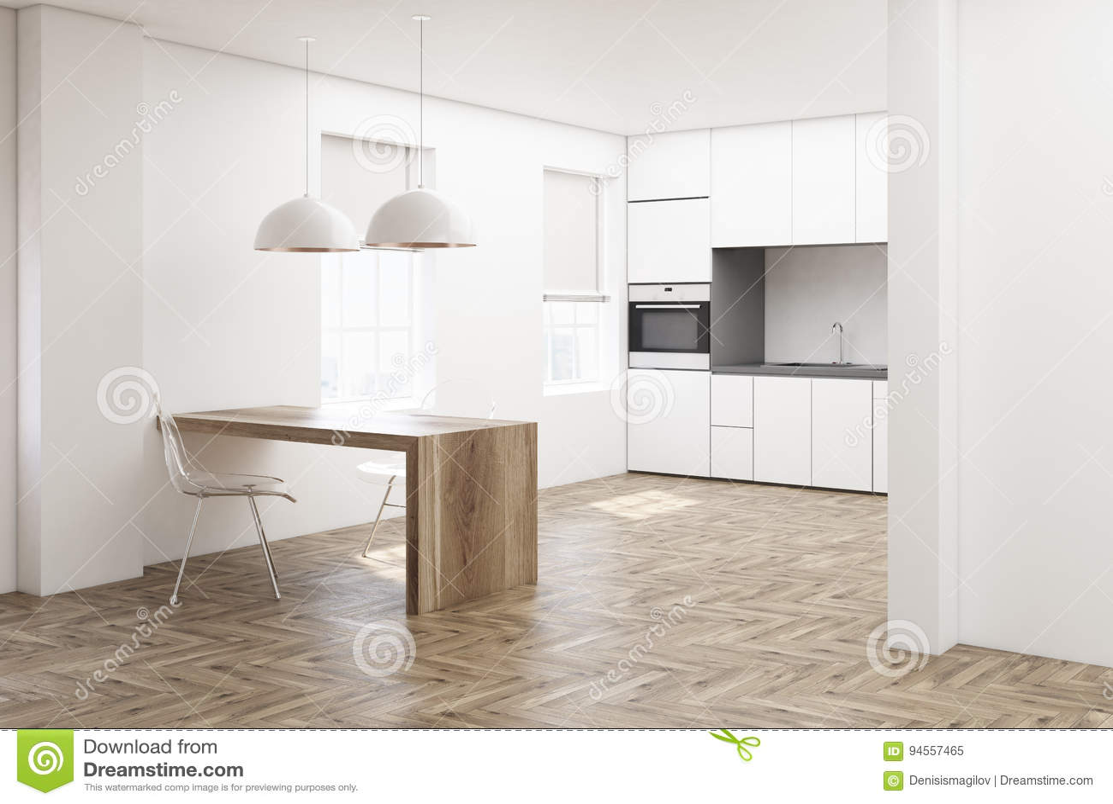 white kitchen buffet shades 白色厨房 木地板边库存例证 插画包括有国内 房子 设计 户内 楼层 关闭与白色木地板 最低纲领派桌 透明在烤箱与修造的椅子和工作台面的白色厨房内部3d翻译嘲笑