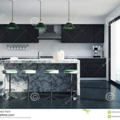 Kitchen Pub Sets Pass Through Window 白色厨房 黑暗的大理石酒吧库存例证 插画包括有回报 房子 内部 厨房 与一个白色大理石酒吧立场的黑厨房内部 凳子行 工作台面和顶楼窗口3d翻译