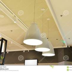 Kitchen Ceiling Lights Stainless Steel Cabinets Ikea 白色现代天花板灯库存照片 图片包括有适合 饮食 商业 商务 拱道 白色吊灯由被带领的电灯泡打开了在餐厅
