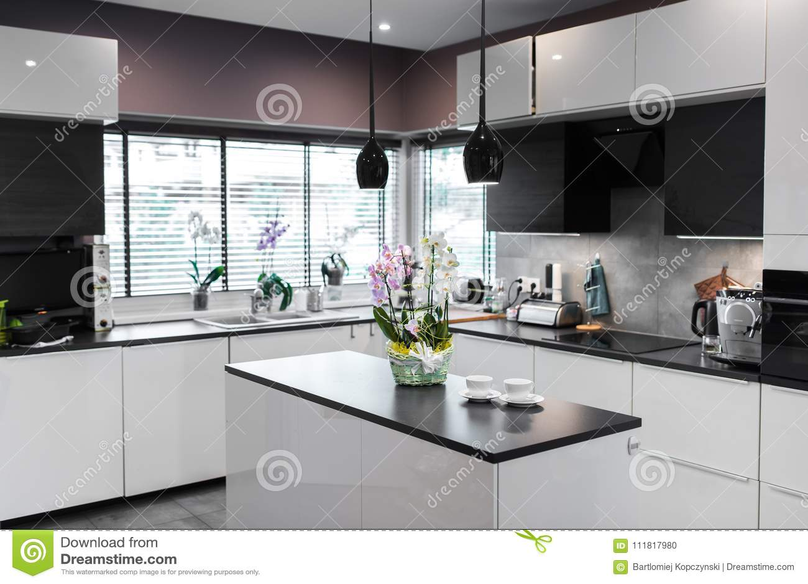 kitchen decor yellow 4 hole faucet 白黄色兰花在厨房里库存照片 图片包括有新鲜 纸张 装饰 玻璃 独有 白黄色兰花在厨房里