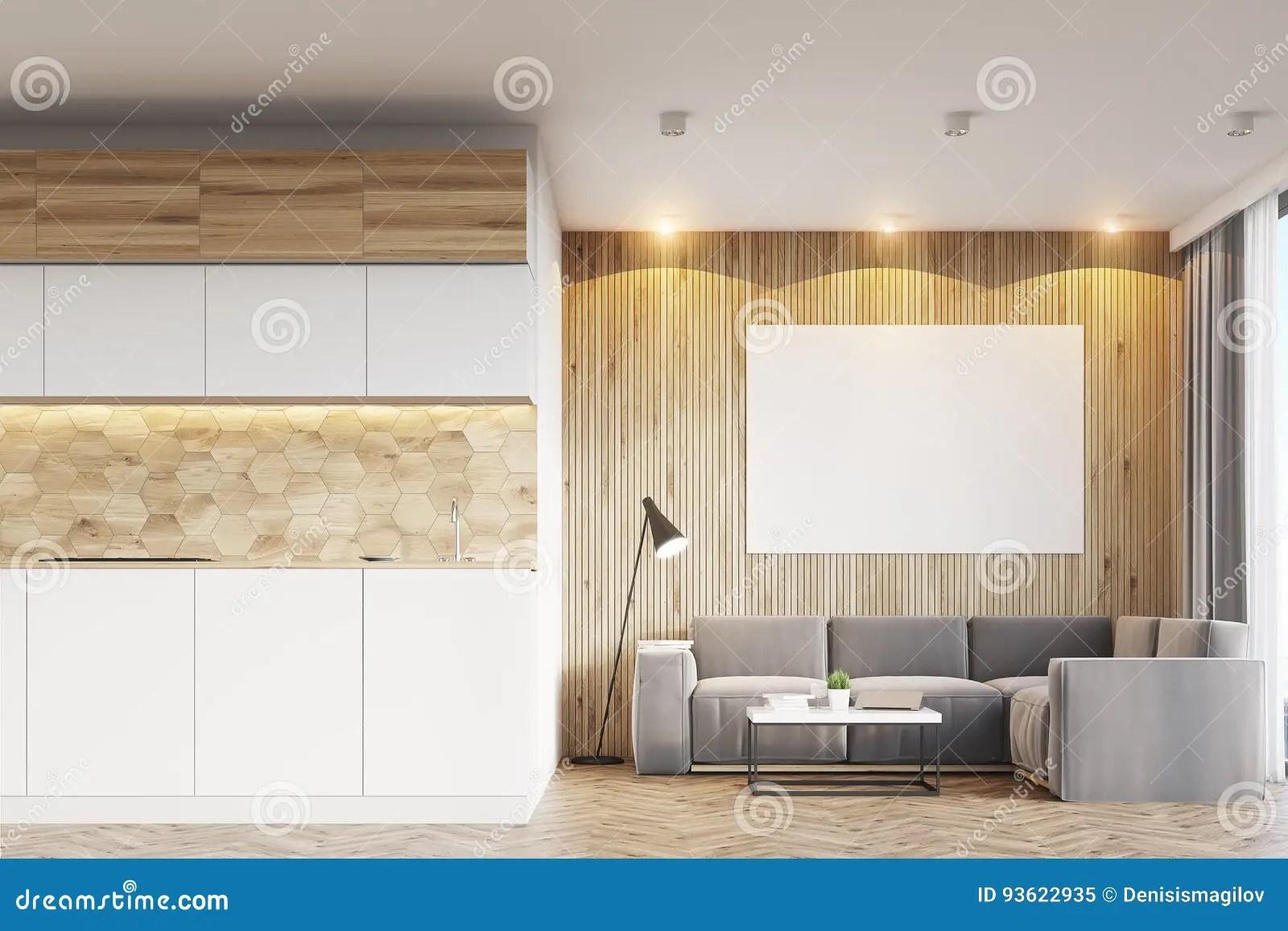 framed prints for kitchens new kitchen designs 轻的木客厅和厨房库存图片 图片包括有海报 纸张 内部 闪亮指示 装饰 与轻的木墙壁的客厅内部 与一个灰色沙发的左边的相反一个厨房和有一张水平的海报的一把扶手椅子在墙壁