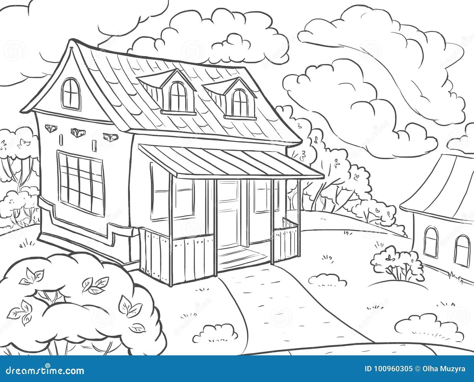 着色页 风景房子在夏天 库存例证. 插画 包括有 幻想, 夏天, 设计, 乱画, 模板, 抽象, 农场
