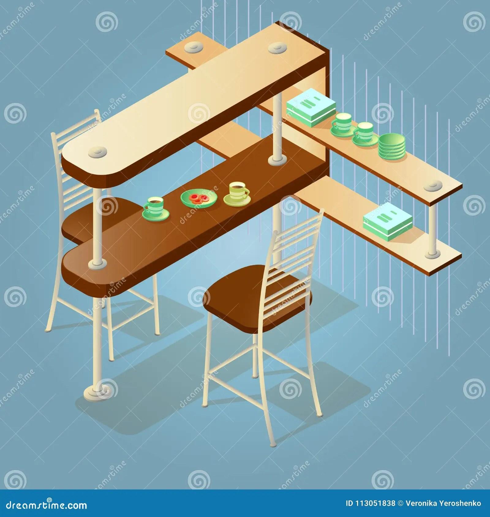 kitchen pub sets cabinet makeover 等量动画片柜台和椅子的套向量例证 插画包括有任何地方 方便 国内 在蓝色隔绝的等量动画片柜台和椅子象的套木容量厨房酒吧柜台 架子和两把椅子详细的对象传染媒介平的样式3d例证