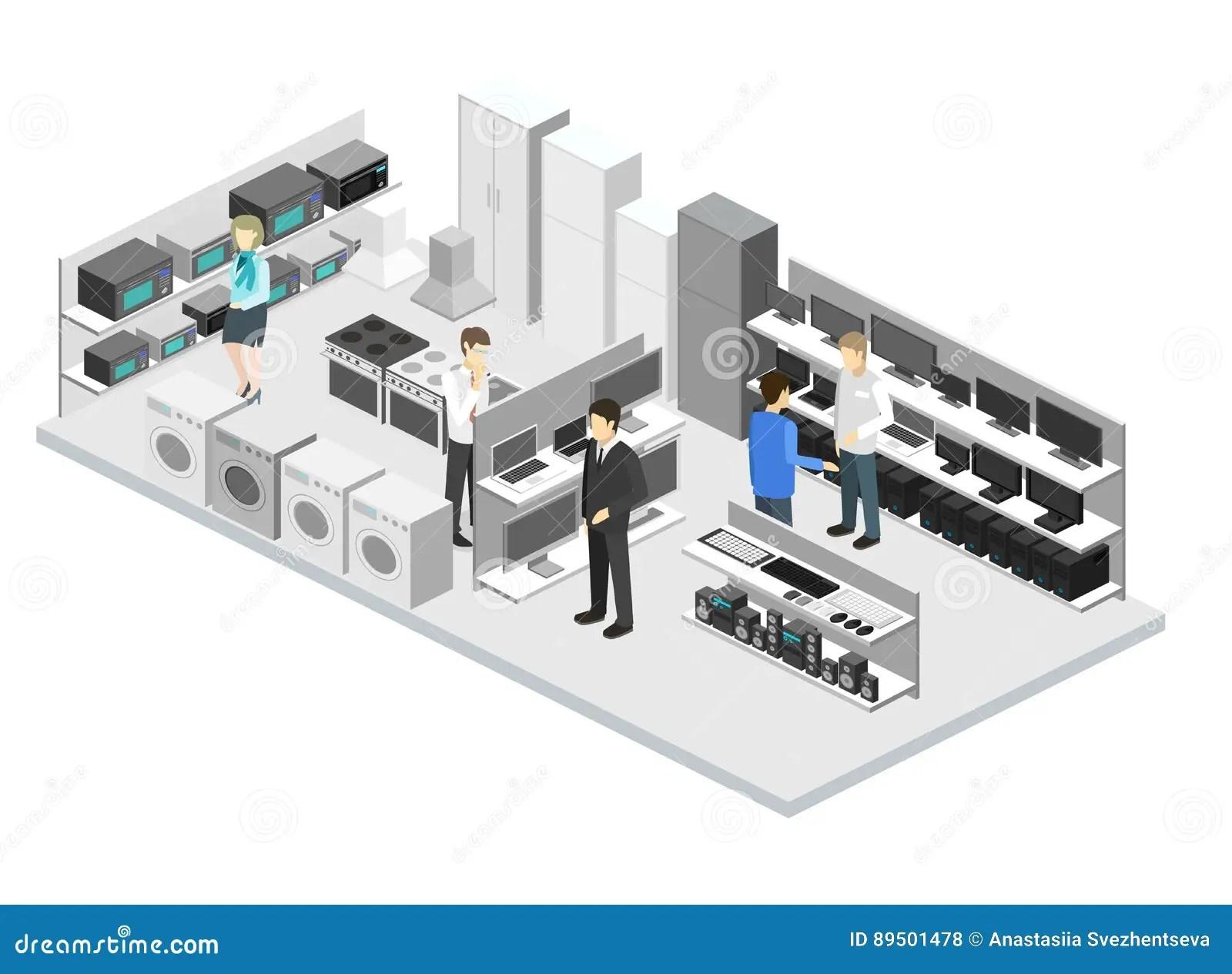 home and kitchen stores dark floors 等量平的3d内部家庭设备商店 计算机商店库存例证 插画包括有冰箱 厨房 计算机商店