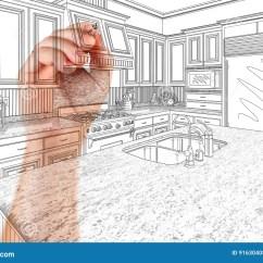 Kitchen Reno Mobile Home 建筑师习惯厨房设计图画细节的手库存照片 图片包括有整修 实际 拱道 建筑师习惯厨房设计图画细节的手