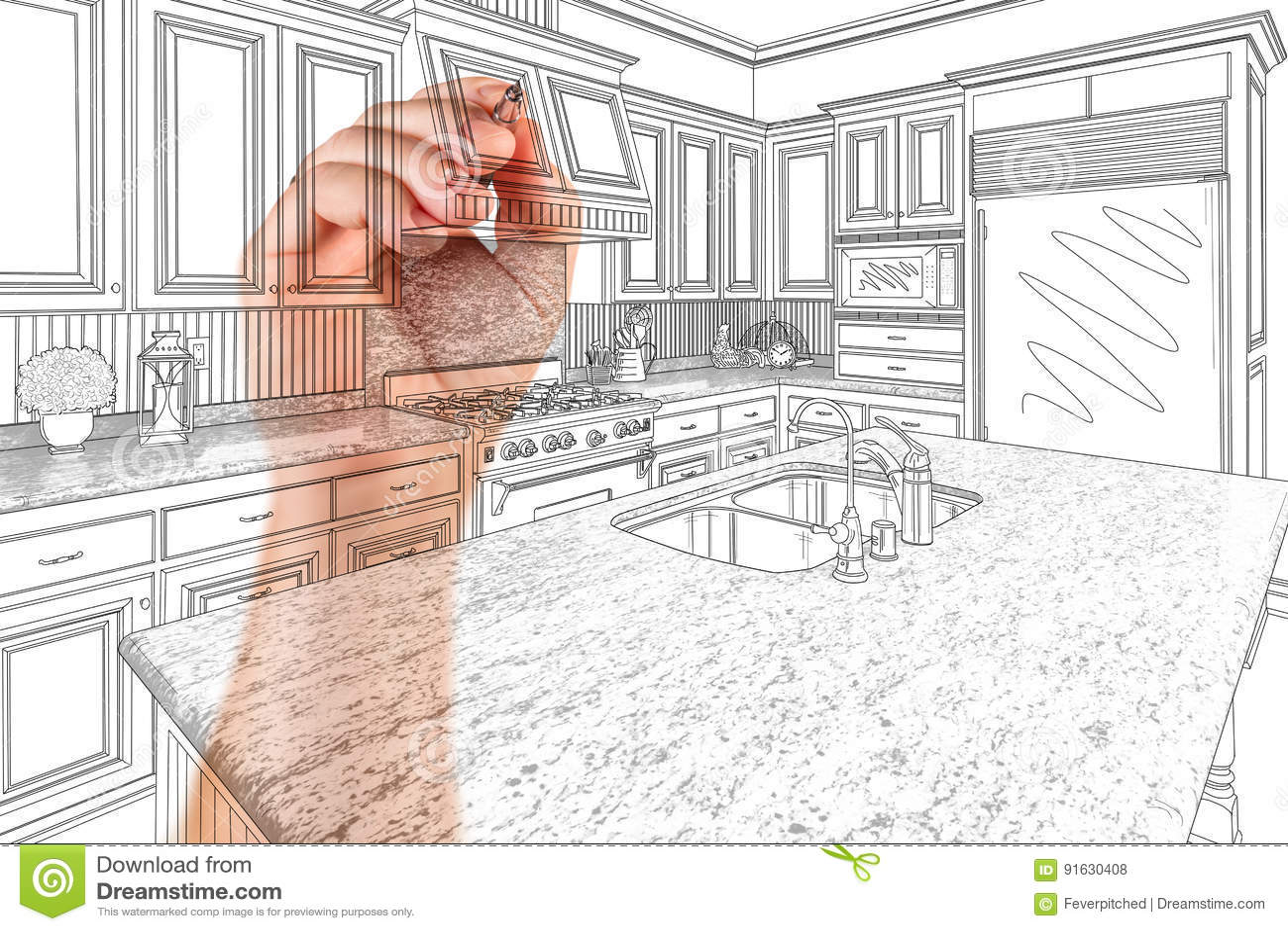 kitchen reno faucet sprayer hose 建筑师习惯厨房设计图画细节的手库存照片 图片包括有整修 实际 拱道 建筑师习惯厨房设计图画细节的手