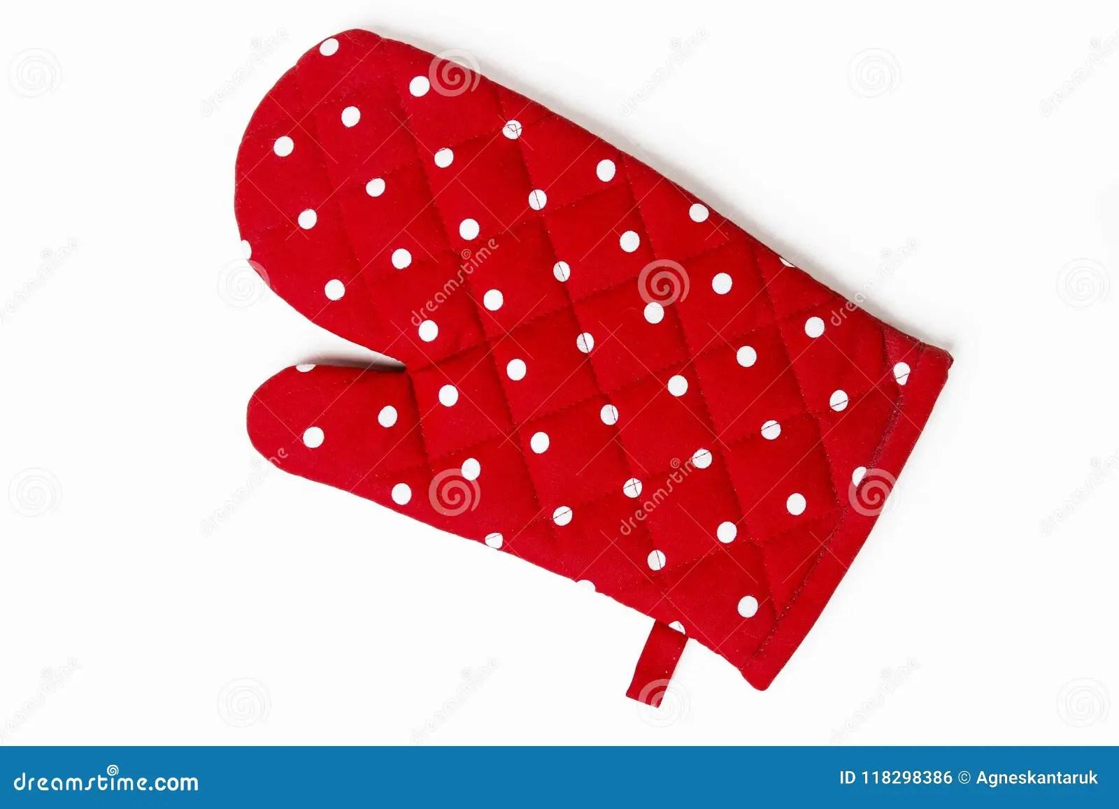 kitchen gloves lowes faucets delta 红色被加点的厨房手套库存照片 图片包括有葡萄酒 对比 生动 厨具 红色被加点的厨房手套