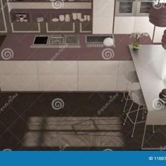 Modern Kitchen Stools Mixer Machine 经典内部的现代有凳子和两的大窗口厨房 海岛 顶视图 白色和紫色红色 顶