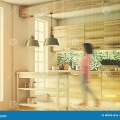 Kitchen Console Sink Hardware 绿色厨房 木控制台 边 被定调子库存例证 插画包括有设计 夹具 瓦片 被定调子