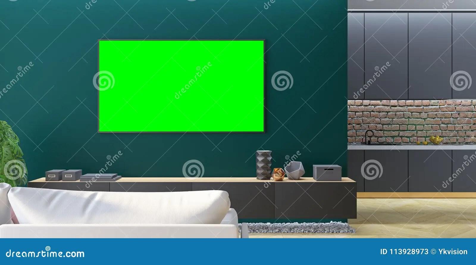 kitchen console containers 绿色客厅电视嘲笑与沙发 厨房 控制台库存例证 插画包括有现代 拱道 控制台