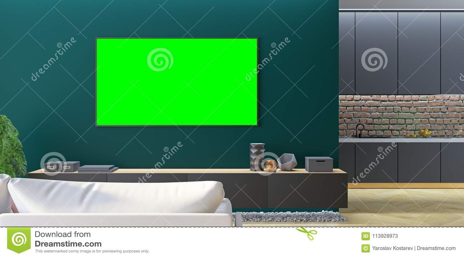 kitchen console table nook 绿色客厅电视嘲笑与沙发 厨房 控制台库存例证 插画包括有现代 拱道 控制台