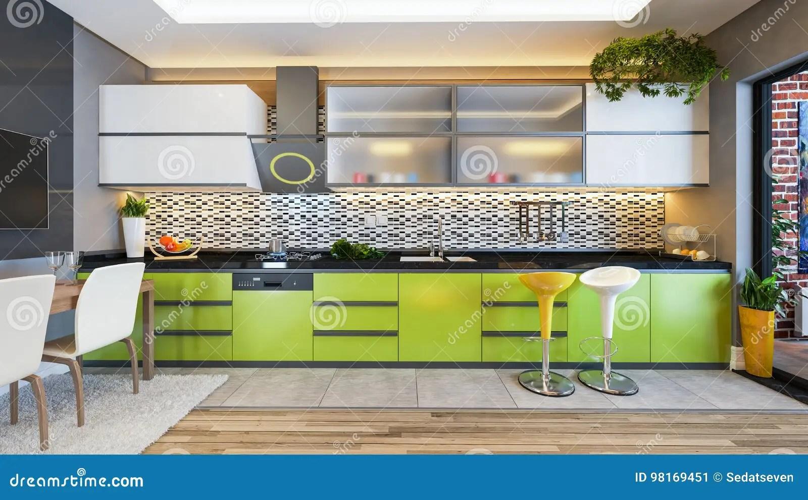green kitchen decor cleaning cabinets 绿色厨房设计装饰想法库存例证 插画包括有烹调 前面 照明设备 果子 绿色厨房设计装饰想法