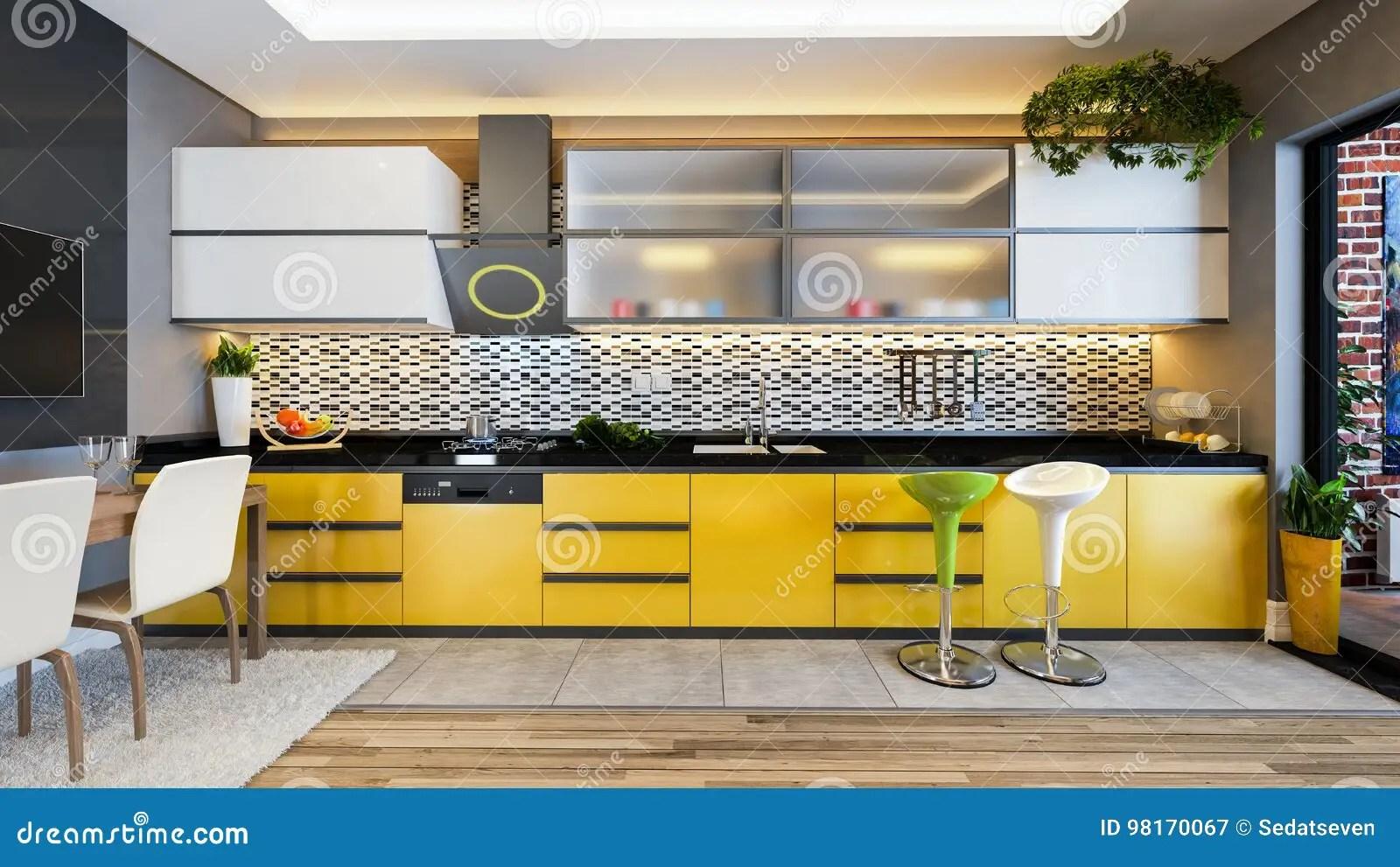 kitchen decor yellow island made out of dresser 黄色颜色厨房设计装饰想法库存例证 插画包括有方便 旅馆 果子 家具 黄色颜色厨房设计装饰想法