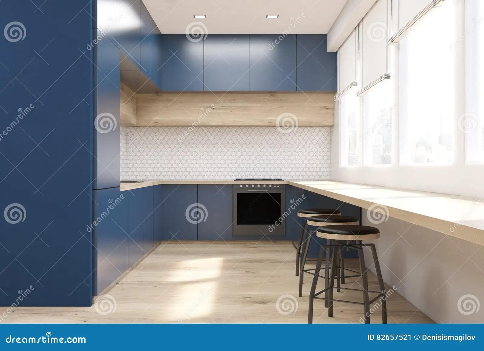 blue kitchen chairs dark table 蓝色厨房正面图库存例证 插画包括有最高限额 灌肠器 设计 楼层 商业 现代厨房内部正面图与蓝色家具 木桌和烤箱的一层轻松的舱内甲板的概念3d翻译