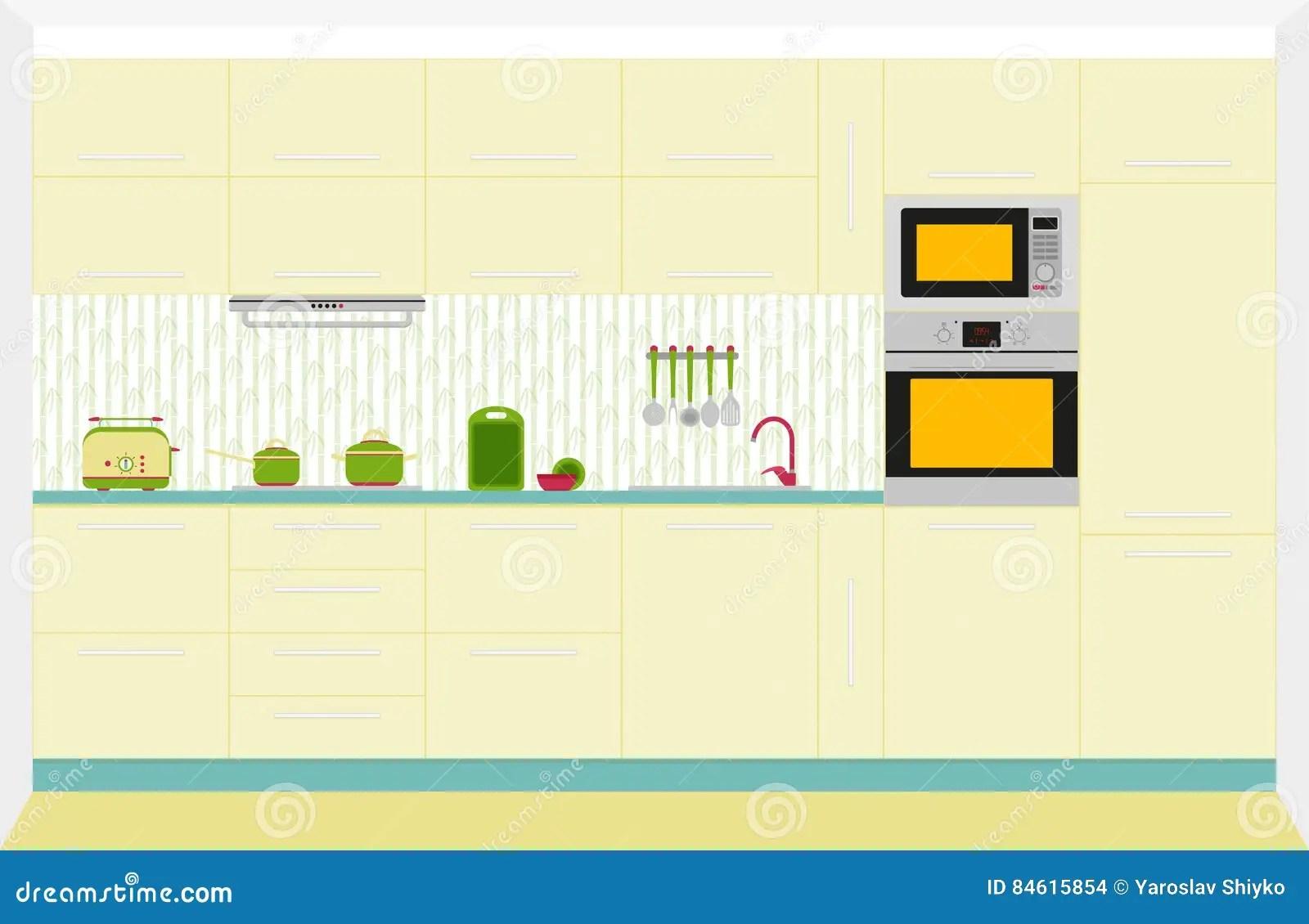 kitchen aid bowls renovation costs nj 设计内部厨房正面图向量例证 插画包括有背包 水壶 敞篷 想法 碗柜 设计内部厨房正面图