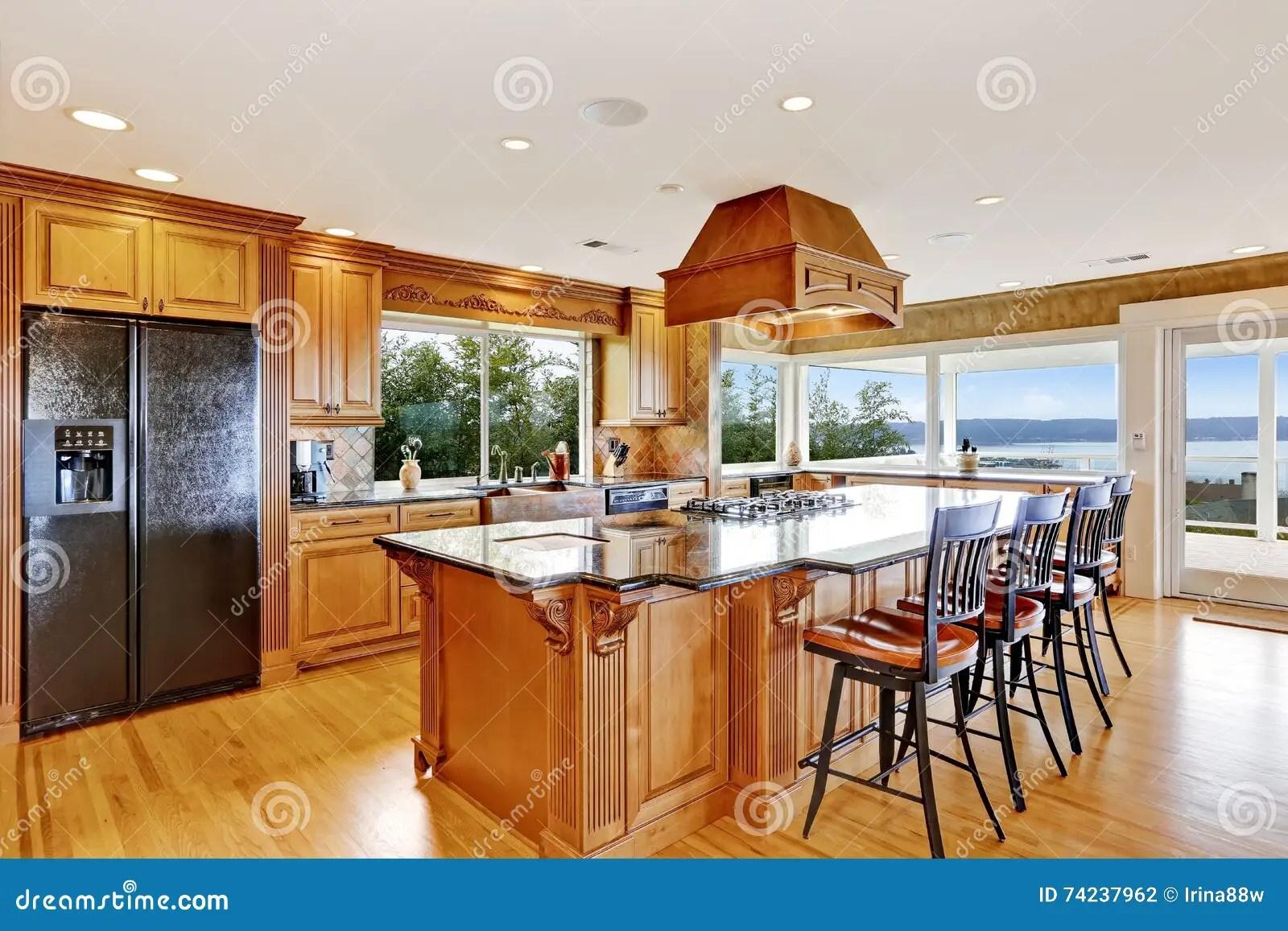 farm kitchen sink how much are remodels 豪华厨房有水视图 海岛和水槽库存照片 图片包括有照亮 现代 冰箱 现代豪华厨房有水视图 海岛和水槽