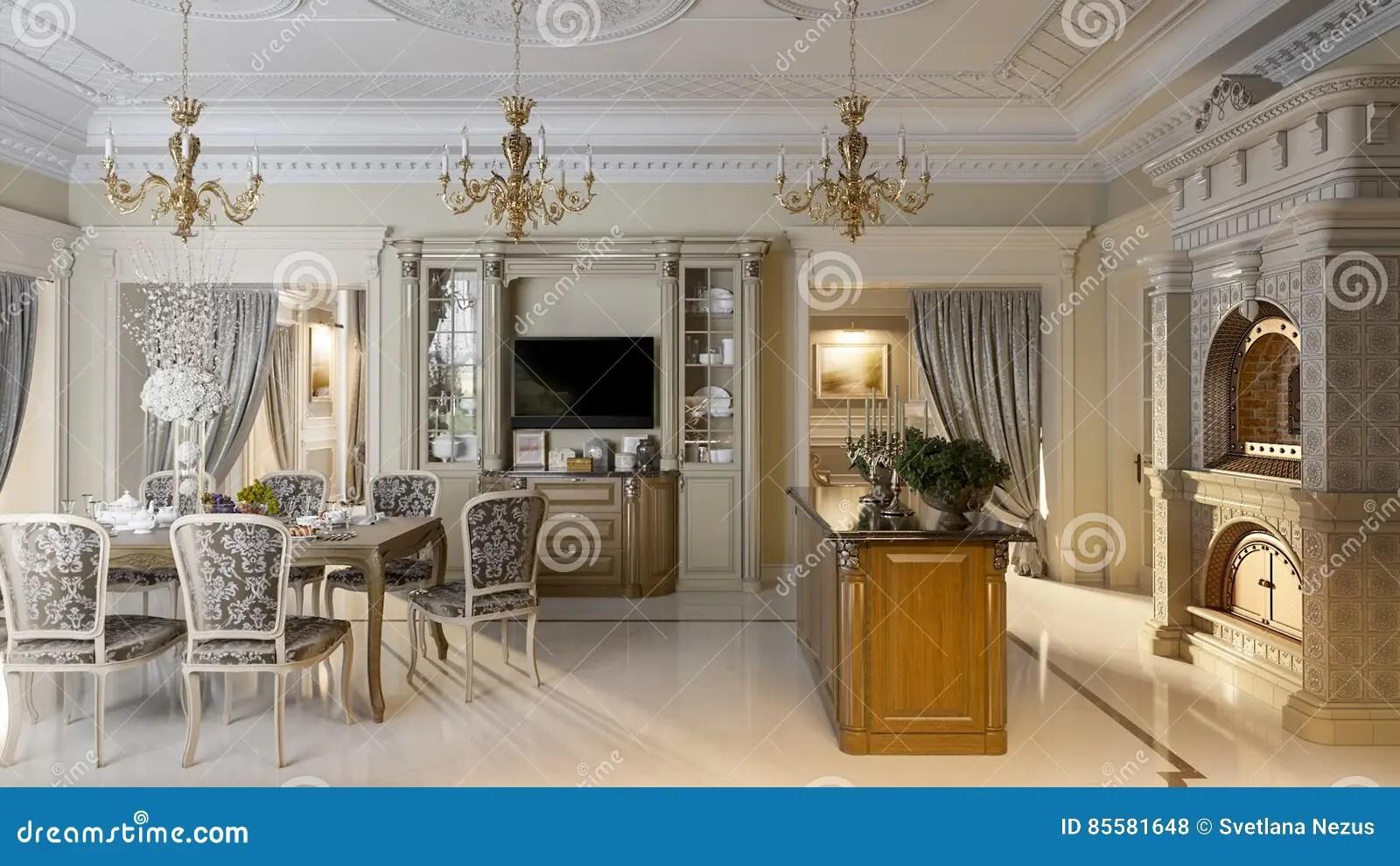 framed prints for kitchens with islands 豪华巴洛克式的厨房和餐厅库存例证 插画包括有巧克力 庄园 建筑 设计 豪华巴洛克式的厨房和餐厅