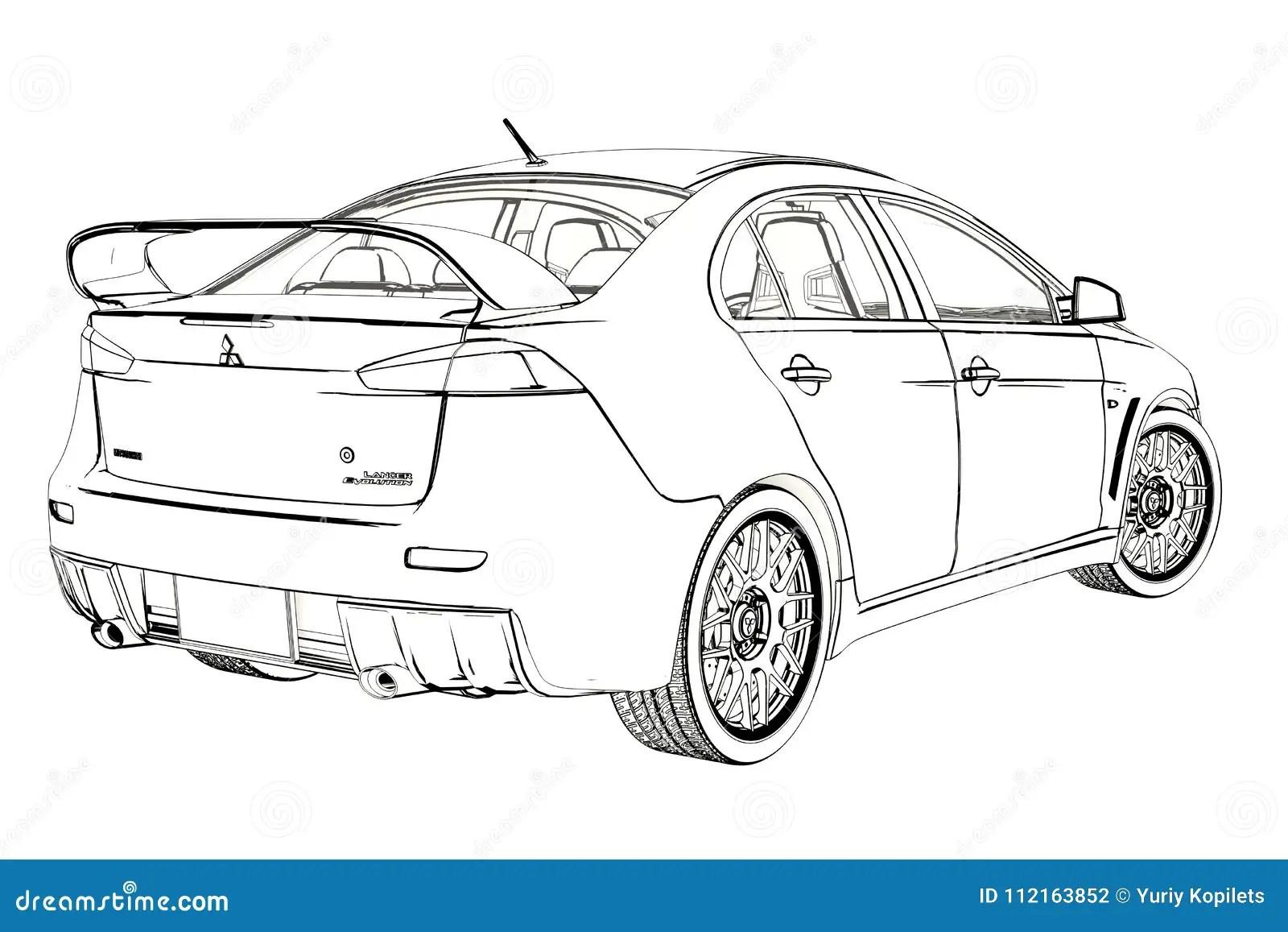 轿车三菱演变x剪影 3d例证 图库摄影片. 插画 包括有 运输, 汽车, 速度, 图画, 草图, 动画片