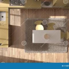 Yellow Kitchen Rugs Travertine Tile For Backsplash In 顶视图 现代minimalistic木厨房有餐桌和地毯 白色和黄色建筑学内部的 白色和黄色建筑