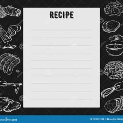 Kitchen Design Template Cabinet Painting Contractors 食谱卡片菜谱页设计模板用准备饭食 厨房用具和装置的手向量例证 插画 厨房用具和装置的手