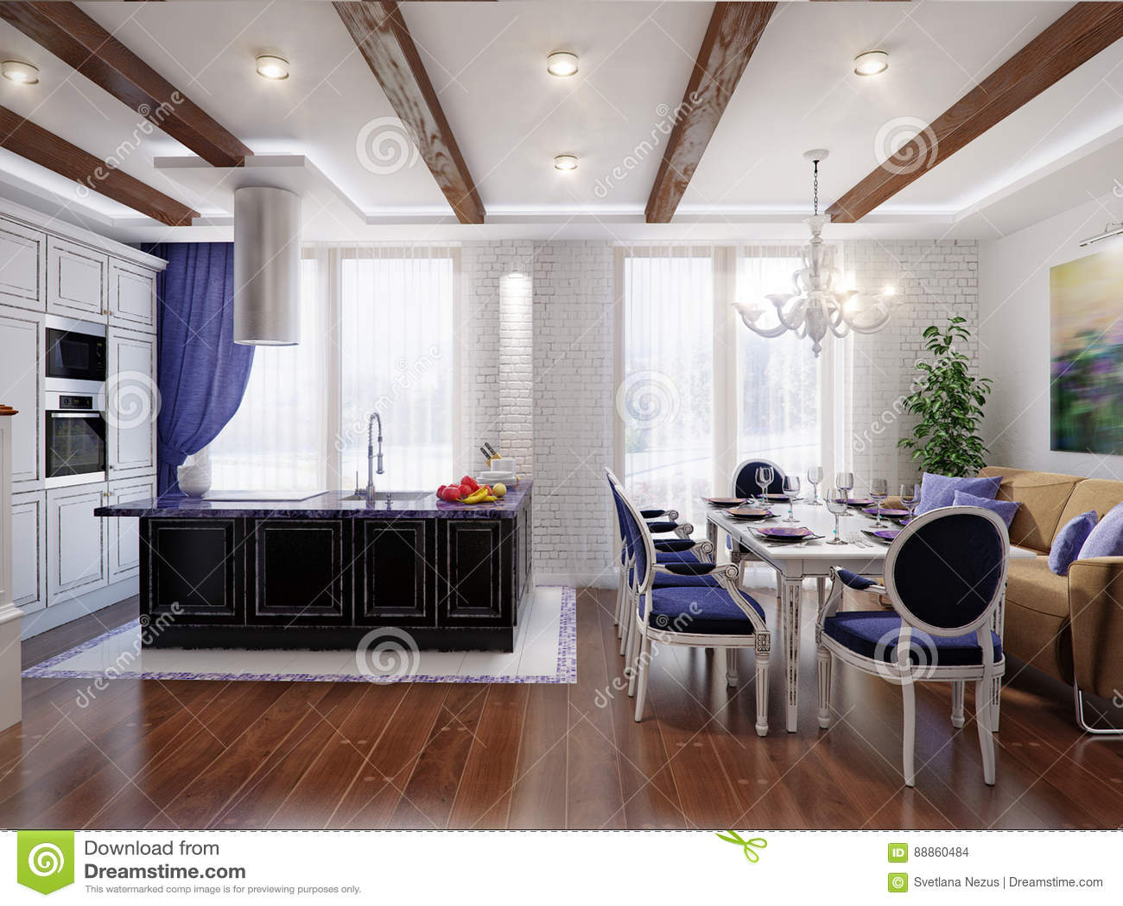 kitchen accent table small glass 餐厅和厨房经典室内设计库存例证 插画包括有厨师 内部 设计 蓝色 餐厅经典室内设计和厨房有白色和黑门面 白色砖墙和蓝色口音的3d例证