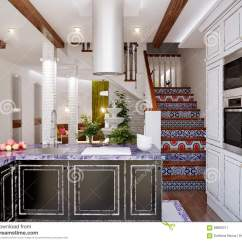 Kitchen Accent Table Sink Faucets Lowes 餐厅和厨房经典室内设计库存例证 插画包括有住宅 拱道 蓝色 房子 餐厅经典室内设计和厨房有白色和黑门面 白色砖墙和蓝色口音的3d例证