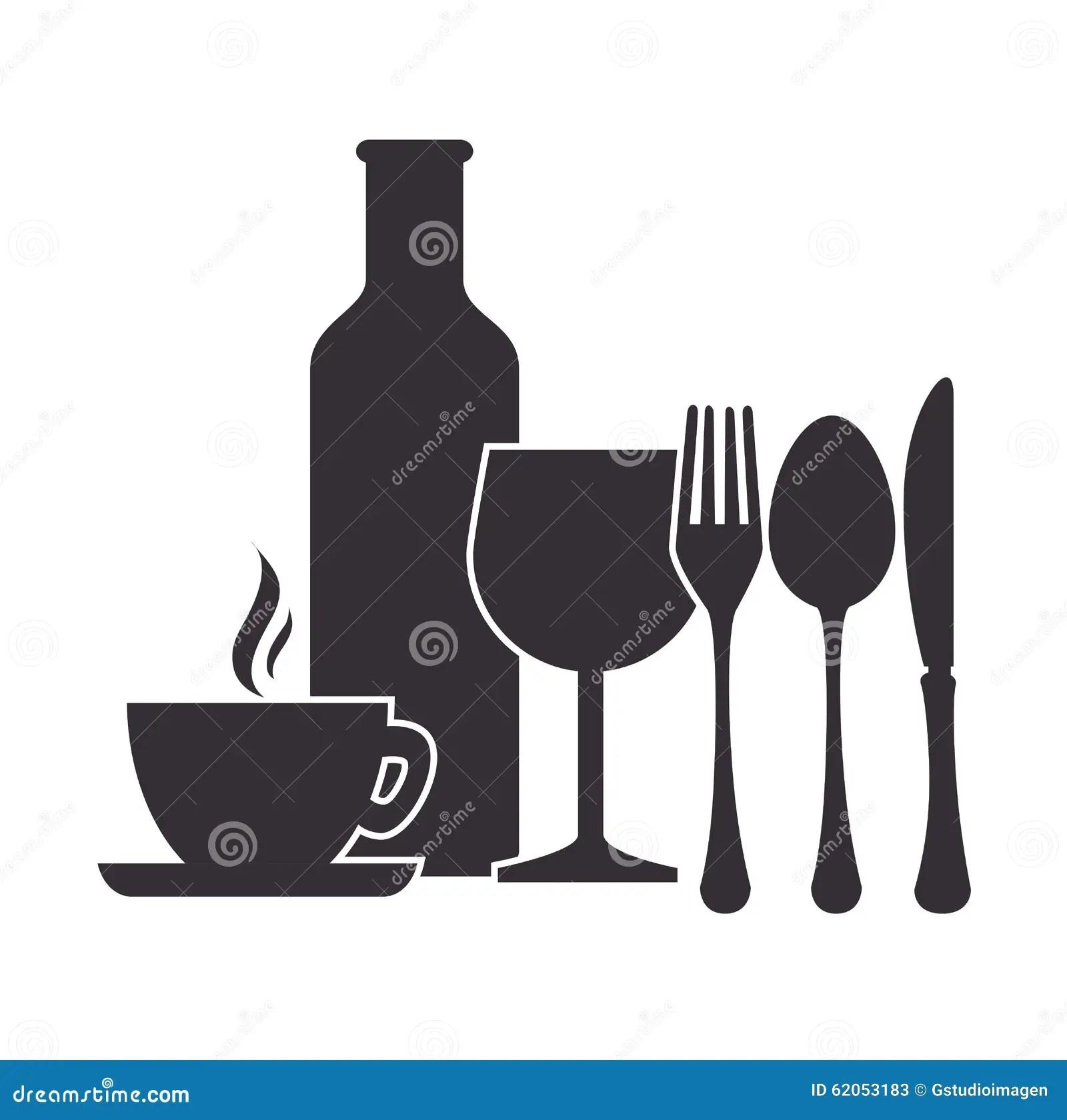 kitchen cutlery plates 餐馆和厨房餐具向量例证 插画包括有刀叉餐具 要素 匙子 杯子 粮食 餐馆和厨房餐具