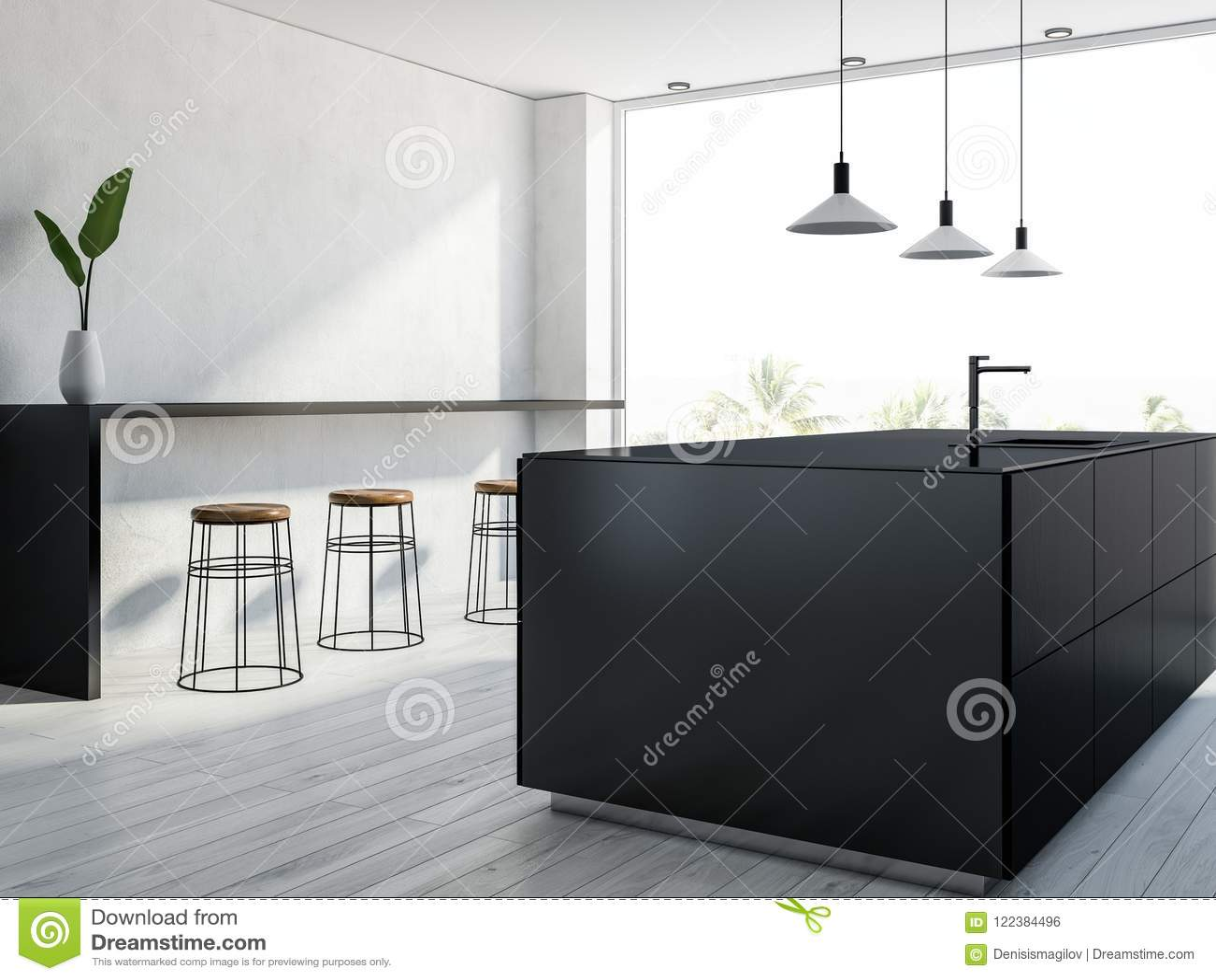 kitchen bar lights installing backsplash tile sheets 黑白全景厨房conrer 酒吧库存例证 插画包括有房子 烤箱 公寓 复制 与一个白色木地板 黑柜台 一个酒吧与凳子和时髦的天花板灯的全景厨房内部侧视图3d翻译