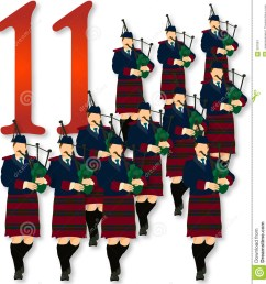 12 days of christmas 11 pipers piping [ 1266 x 1300 Pixel ]