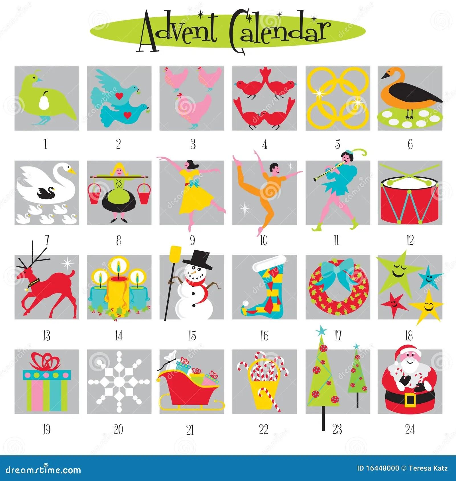 12 Days Of Christmas And Advent Calendar Stock Photo