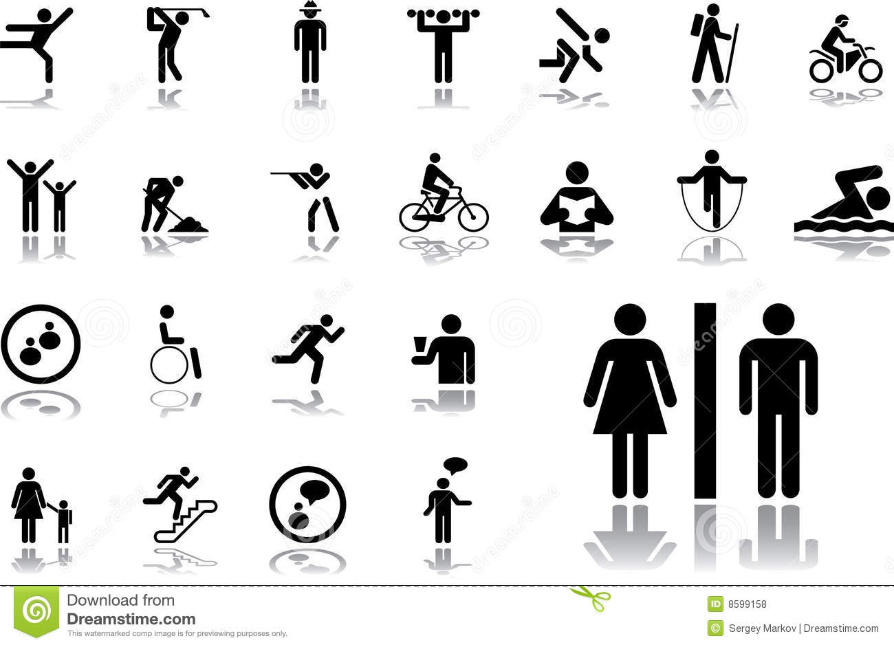 19 Pictographs Of People Royalty Free Stock Photos