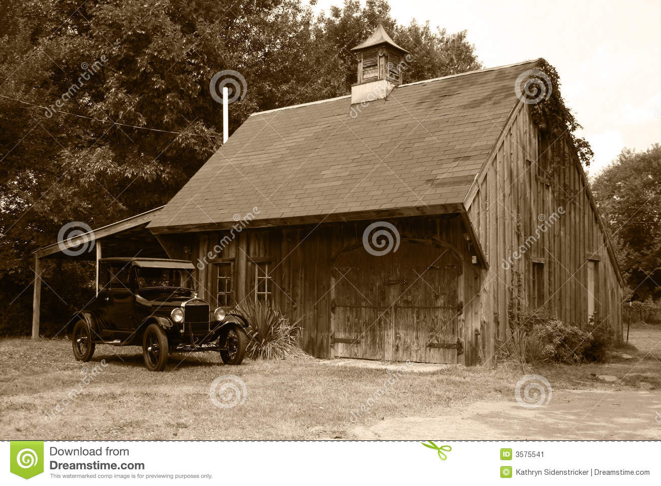 1927 Model T Ford Amp Old Barn Stock Image Image 3575541
