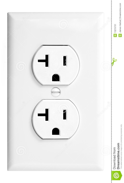small resolution of an isolated united states standard 20amp white electrical outlet against a white background