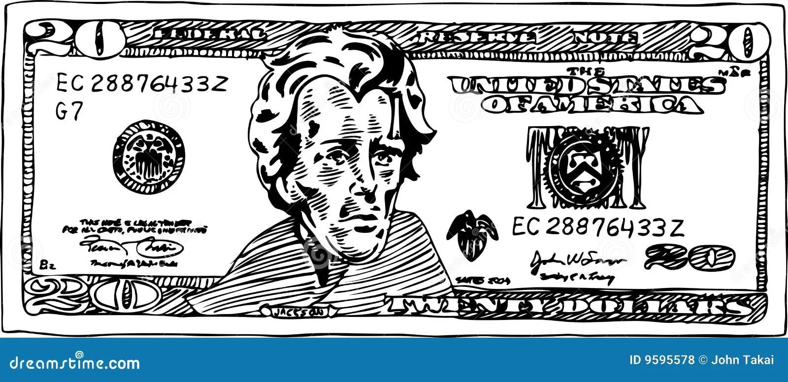 American Dollar Money Bill Sketch Vector Illustration