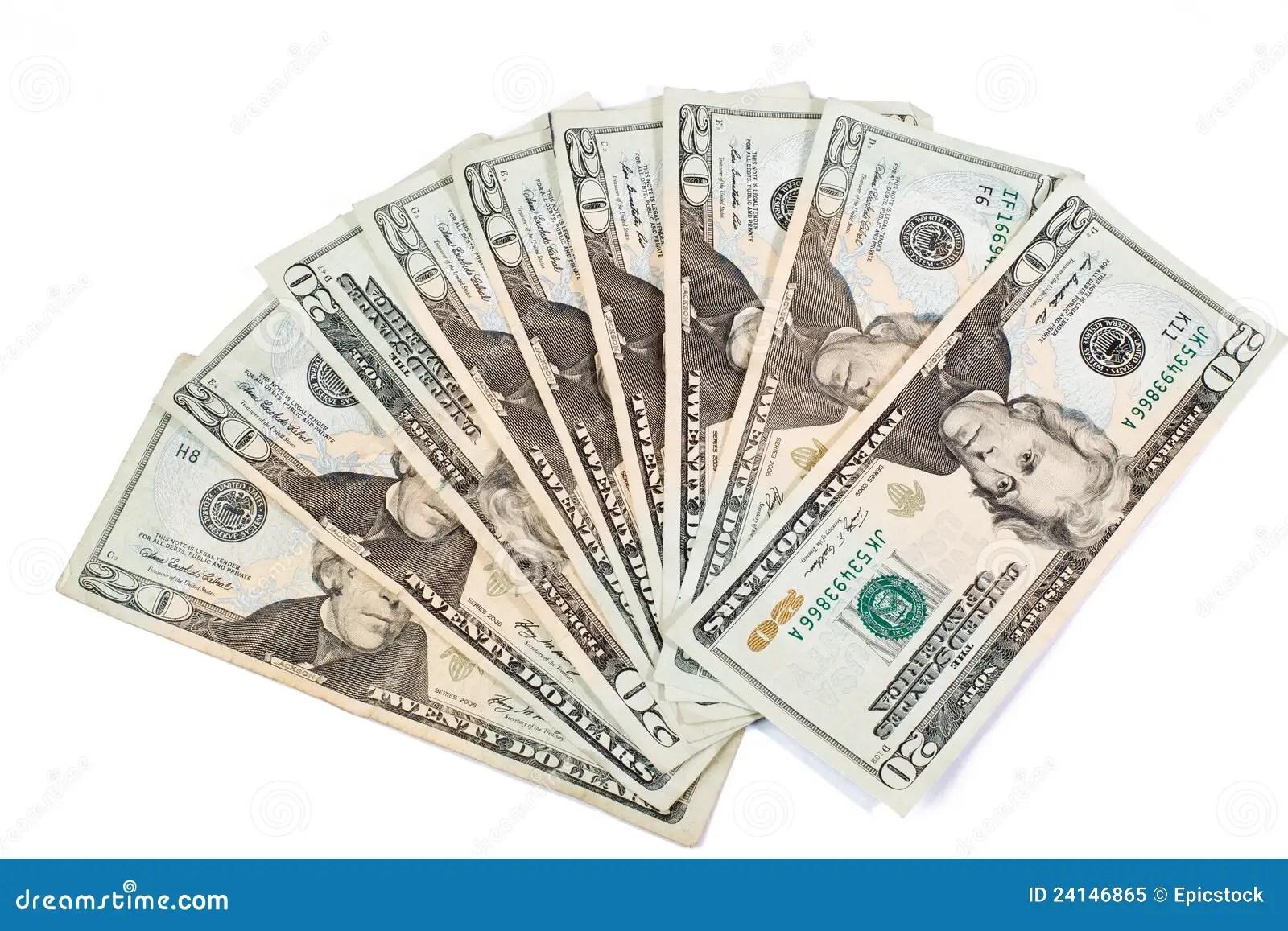 20 Dollar Bills Stock Image Image Of Abstract Green