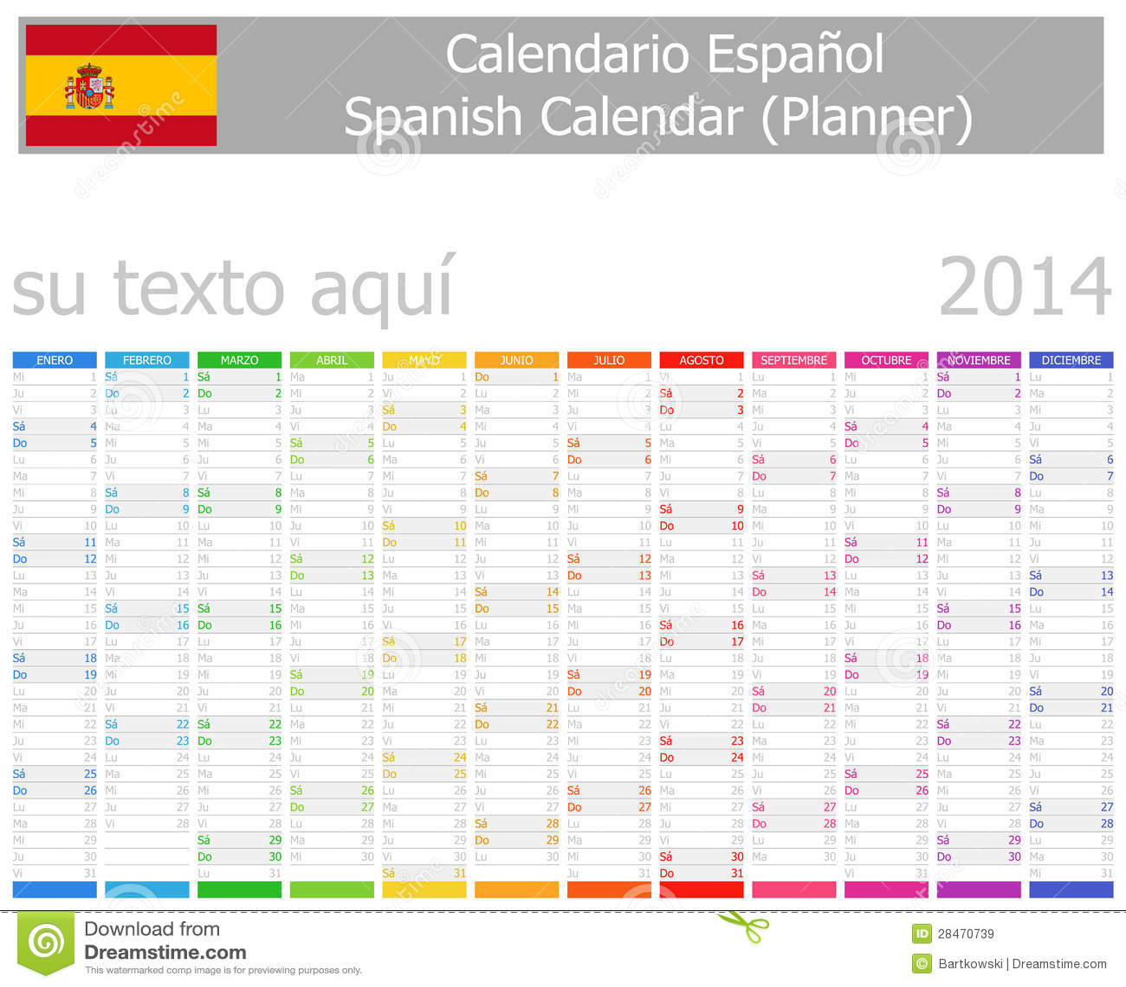 Spanish Planner Calendar With Horizontal Months