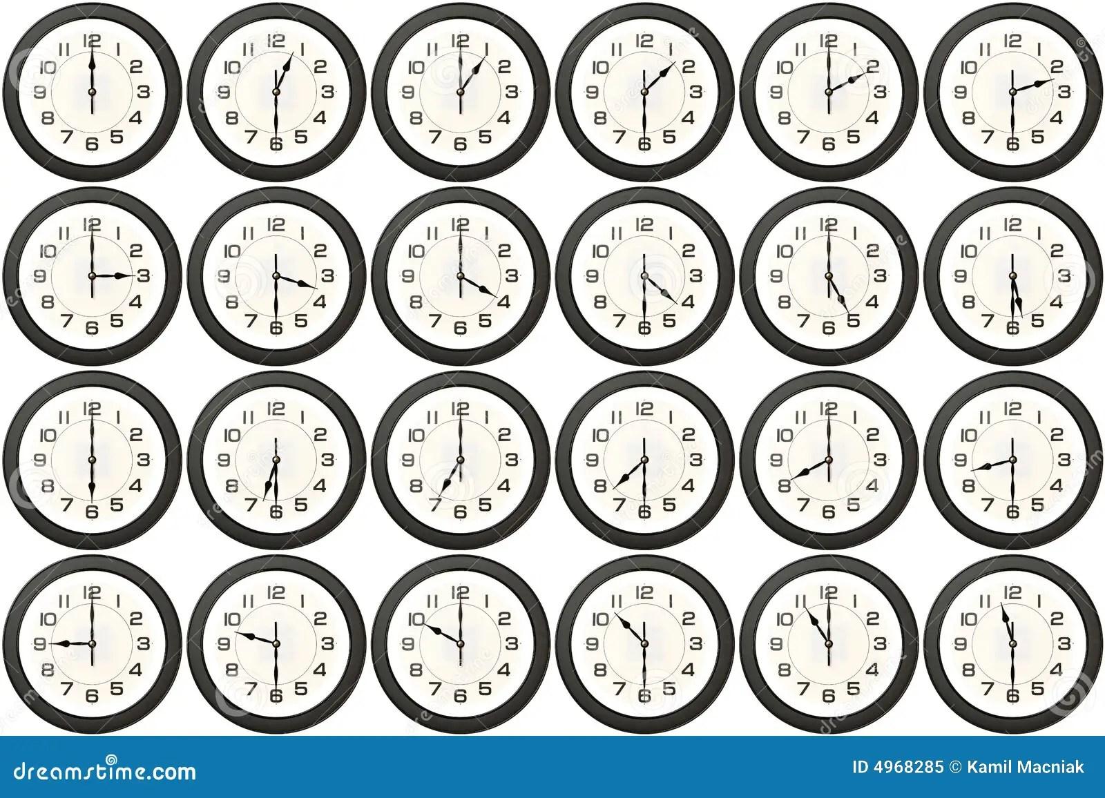 24 Clocks Every Half Hour Royalty Free Stock Photo