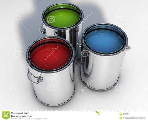 3 Vibrant Colors Paint Cans Royalty Free Stock - 9759019