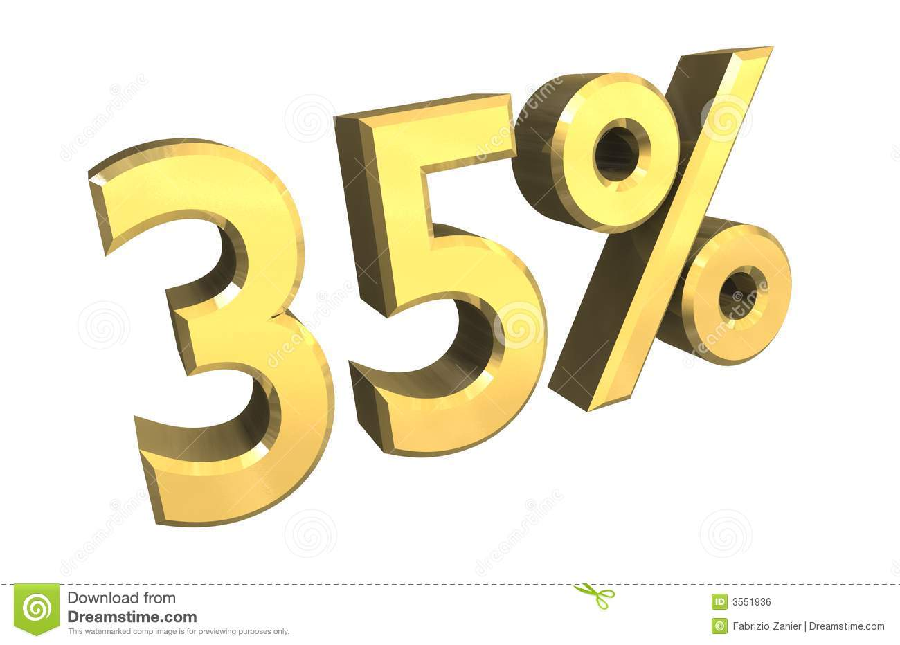 35 Percent In Gold (3d) Royalty Free Stock Image Image
