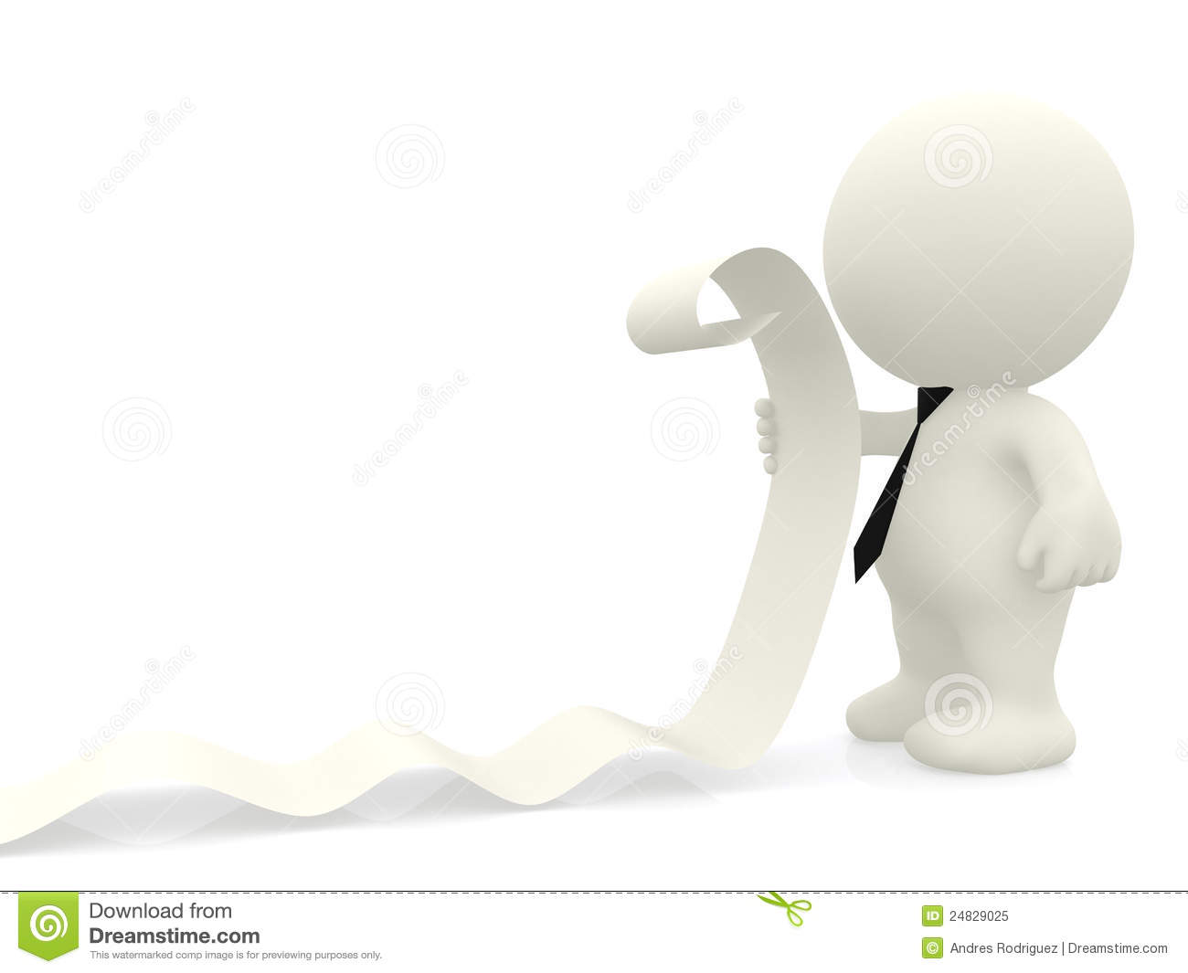 3D Business Man Reading A List Stock Illustration